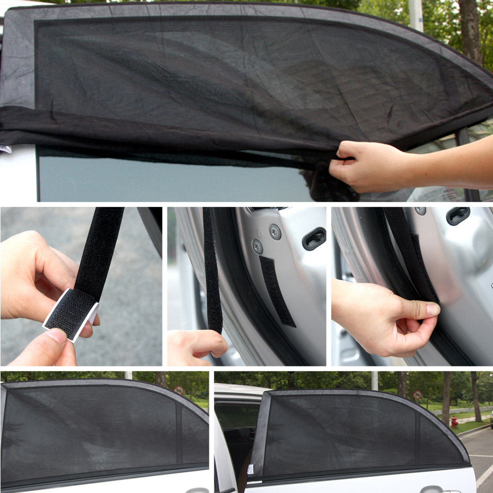 2pcs Black Sun Visors Shade Mesh Cover Shield Sunshade For Car Side Rear Window