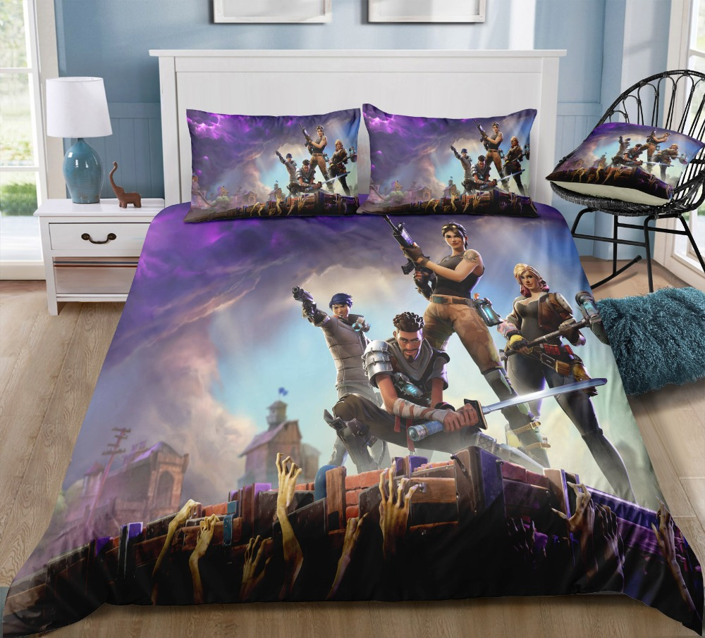 Fortinet Game Fortnit 3D Bedding Sets Printed pillowcases Duvet Cover Set Single Twin Queen King Size Customize Dropshipping