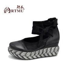 Artmu NOUVELLE Femmes Chaussures Plat Plate-Forme Vintage Chaussures Femme À La Main En Cuir 7 cm Talon Zip En Cuir Souple zapatos mujer