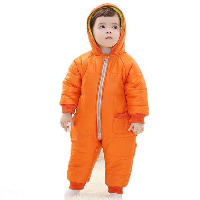 Ropa Del Invierno Del Bebé, Niña, Niño Del Mameluco Caliente Ruso 9-24meses Bebé Mono de Invierno Traje de nieve de Esquí prendas de Vestir Exteriores de Ropa de Colores