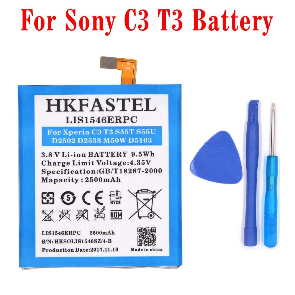 HKFASTEL New LIS1546ERPC original mobile phone battery For Sony Xperia C3 T3 S55T D2502 D2533 M50W batteries parts 2500mAh