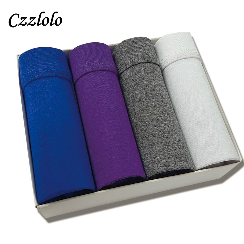Czzlolo 4 pcs/lot Modal Men Underwear Boxers Men Cueca Boxers Solid Male Underwear U Convex Men Underpants Shorts Masculina