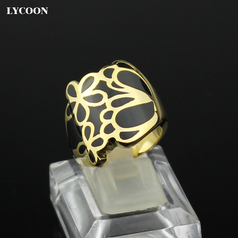 LYCOON Hot sale Womans Ceramic Ring 316L stainless steel Flowers ring with Black resin Imported Enamel in Gold color R1169
