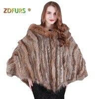 ZDFURS * Новые Модные теплые женские пончо с капюшоном из кроличьего меха меховая отделка из енота и собаки большая накидка с капюшоном шаль