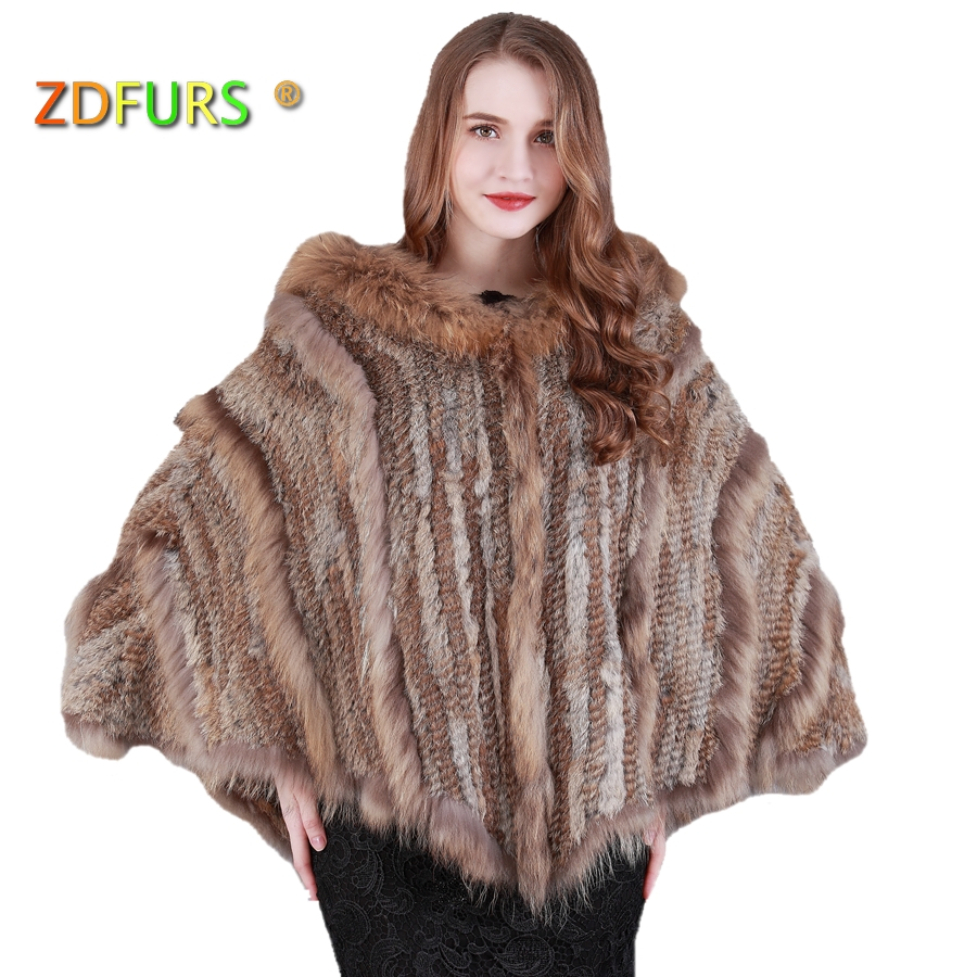 ZDFURS * New fashion warm Ladies Large Rabbit Fur Poncho Hooded Raccoon Dog Fur Trimming big hood cape shawl ZDKR 165016