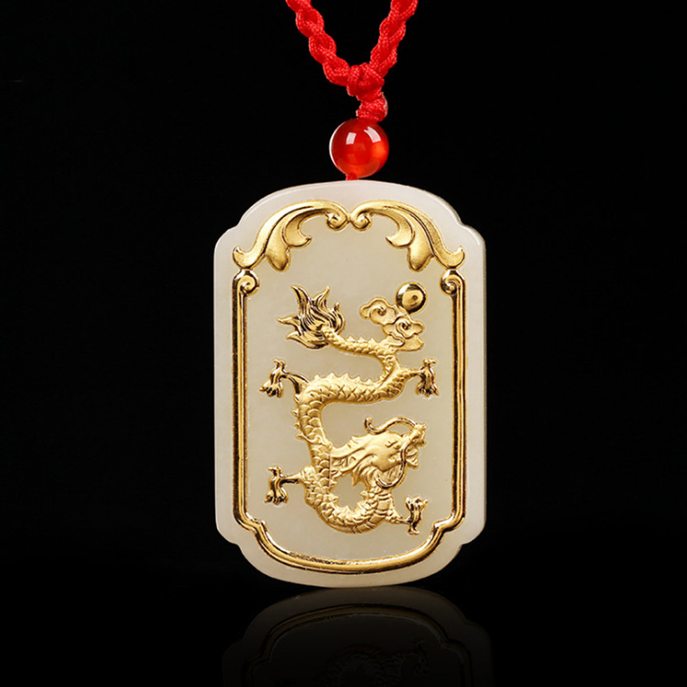 Animal Jewelry Chinese Dragon Pendant Necklace Jade Necklace Gold Jade Jewelry for Men Kids Girls Women купить недорого в Москве