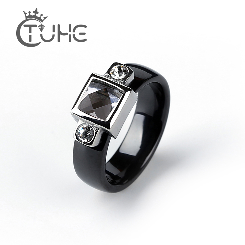 2019 Fashion 2.0 Ct Carat Engagement Ring for Women/Men Steel Square and Two Small  Rhinestone 6mm Smooth Ceramic Rings Jewelry|Engagement Rings| |  - title=