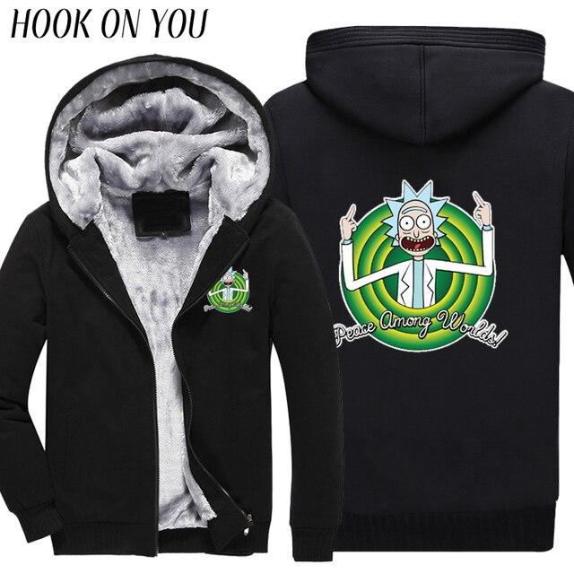 2017 Winter Anime Cool Rick Morty Print Men Black Thicken Hoodies Peace Among Worlds Warm Fleeces Funny Sweatshirt Thermal Coats