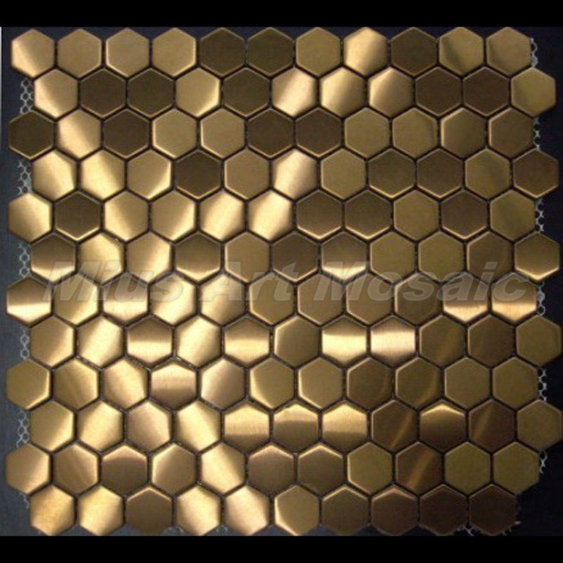 China Hexagon Gold Stainless Steel Metal Mosaic Tile Irregular For Kitchen A6zb28
