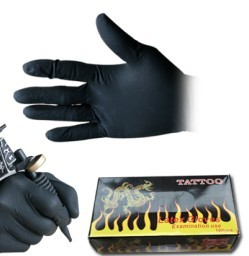Free Shipping 50Pcs Black Rubber Disposable Gloves Good Quality Permanent Makeup Tattoo Cosmetic Accessories Supply