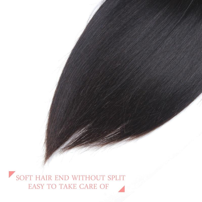 Ali Queen Hair 13x6 Lace Frontal Closure Brasilian Straight Virgin - Mänskligt hår (svart) - Foto 5