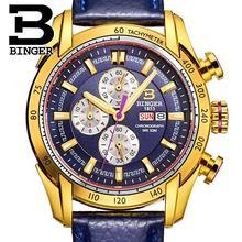 2017 watches men luxury brand Wristwatches BINGER Quartz Genuine Leather watch Sport Chronograph clock Diver glowwatch B1163-7