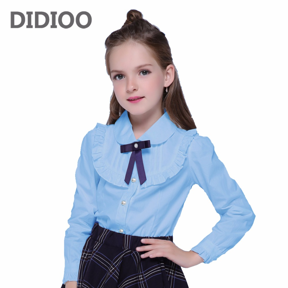 Kids Cute Bow Blouses For Girls Turn-Down Collar School Uniforms 2 4 6 8 10 11 12 14 Years Long Sleeve White Blouses Girls Tops blouses