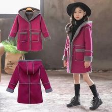 Girls Wool Blends Coat 2019 New Autumn Fashion Childrens Clothing Winter Children Hooded Long Woolen Elegant Coats