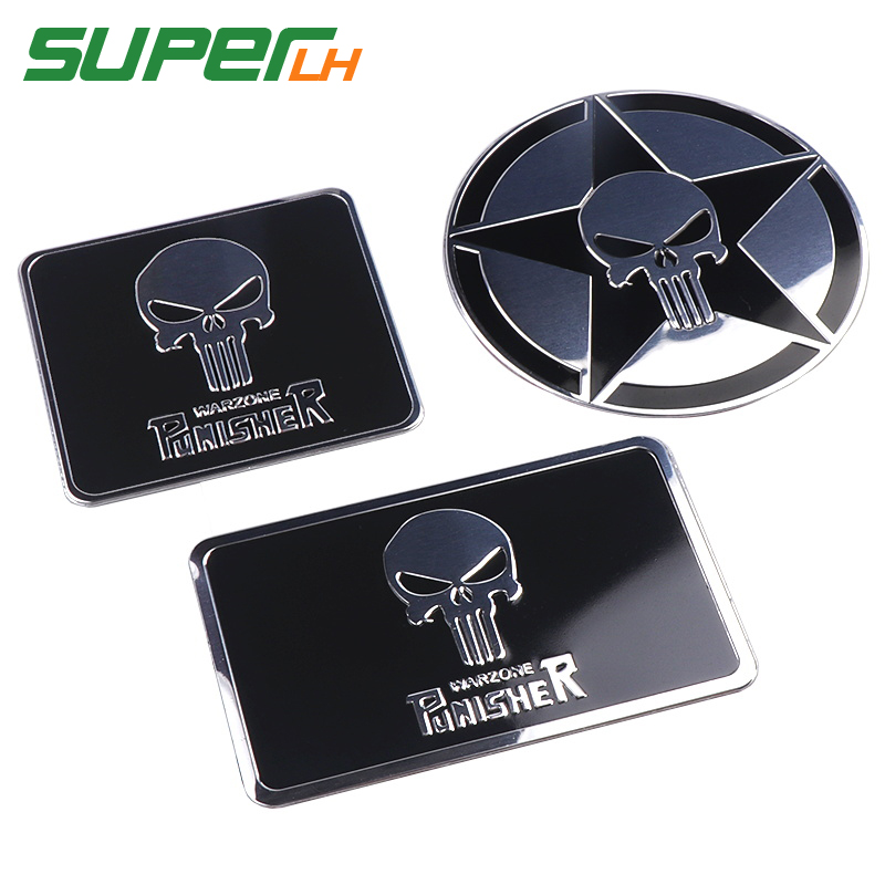 The Punisher Skull Warzone 3D Aluminum alloy Car Auto Badge Motorcycle Sticker Emblem Logo Automobile Tuning Car Styling-in Car Stickers from Automobiles & Motorcycles