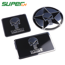 цены The Punisher Skull Warzone 3D Aluminum alloy Car Auto Badge Motorcycle Sticker Emblem Logo Automobile Tuning Car-Styling