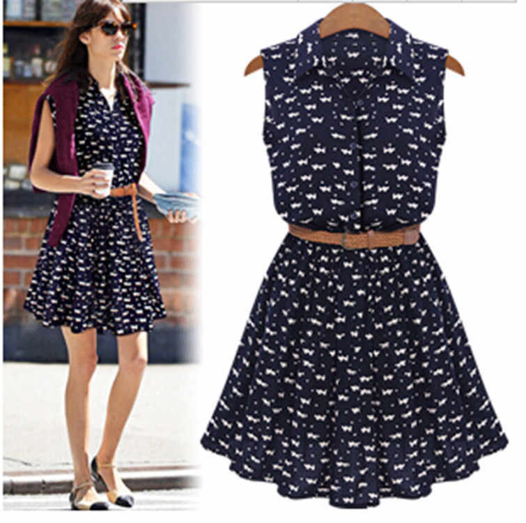 2018 Fashion Sleeveless Summer Women Casual EUROPE Style CAT Footprint Dresses DR104