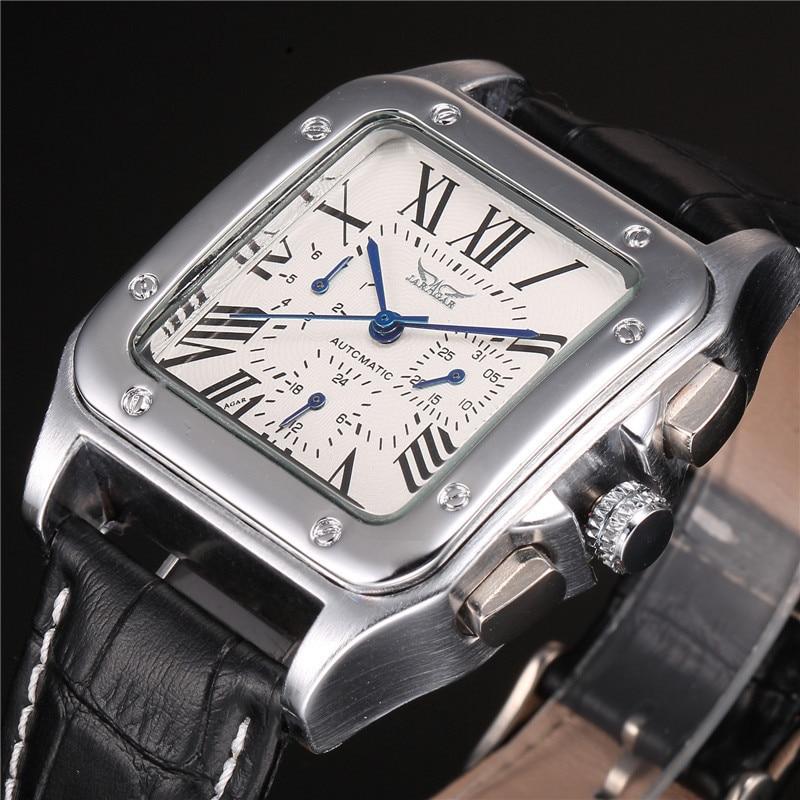 JARAGAR Brand Male Relogio Square Case Roman Numeral Dial Auto Date Day Calendar Leather Belt Automatic