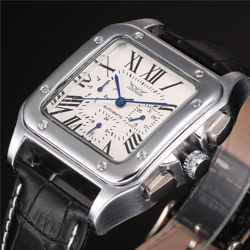 Prix pour Jaragar marque mâle relogio carré case chiffre romain cadran automatique date jour calendrier ceinture en cuir automatique mécanique hommes de montre