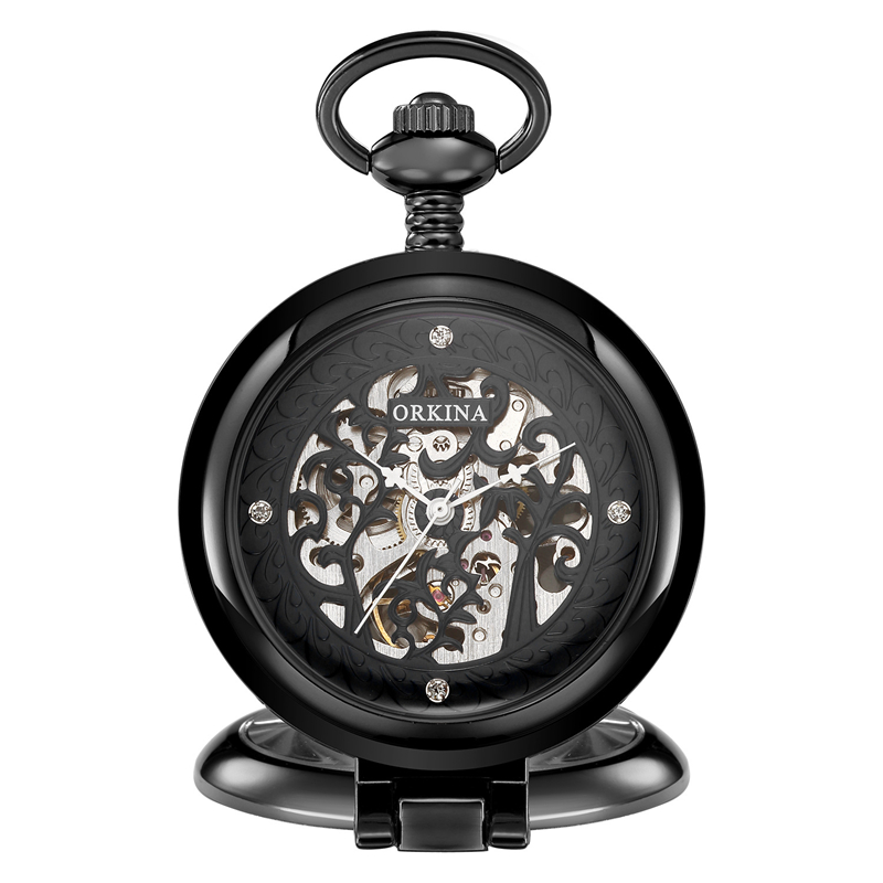 Vintage Hand-winding Watch Mechanical Pocket Watch Roman Numerals Dial Chain Pendant Clock Men Women Birthday Party Gift luxury open face train big dial roman numers mechanical skeleton pocket watch steampunk hand winding watch men women chain gift