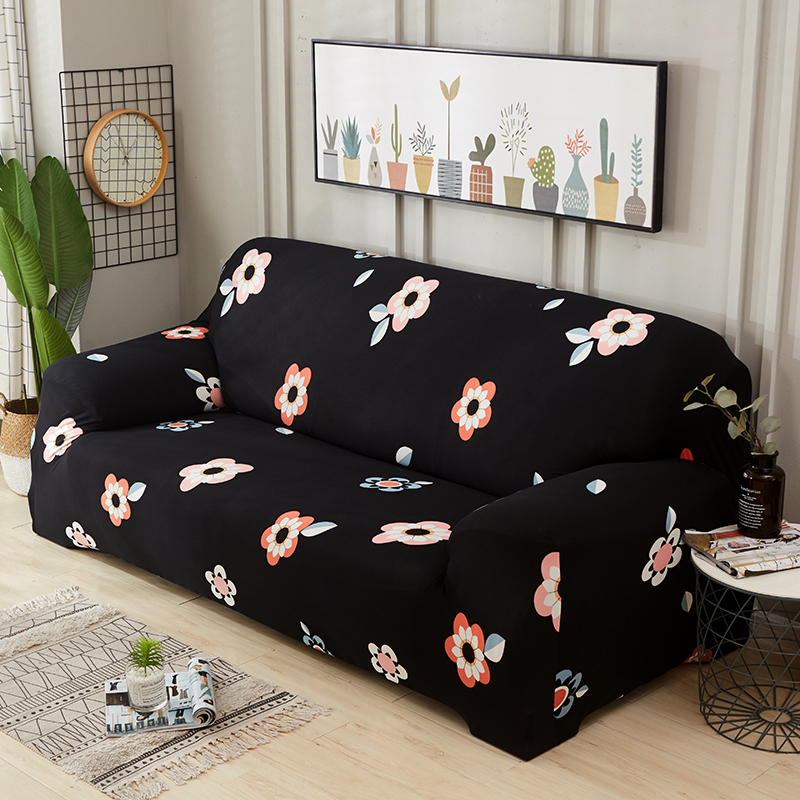 US $3.98 40% OFF|Black flower Slipcovers Sofa Couch Cover Tight Wrap All  inclusive Slip resistant Sofa Covers For Home Living Room Christmas-in Sofa  ...