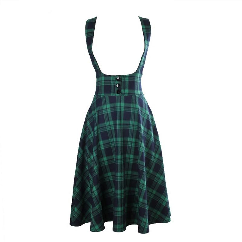 vintage 50s high waist midi swing circle green font b tartan b font plaid suspender skirt