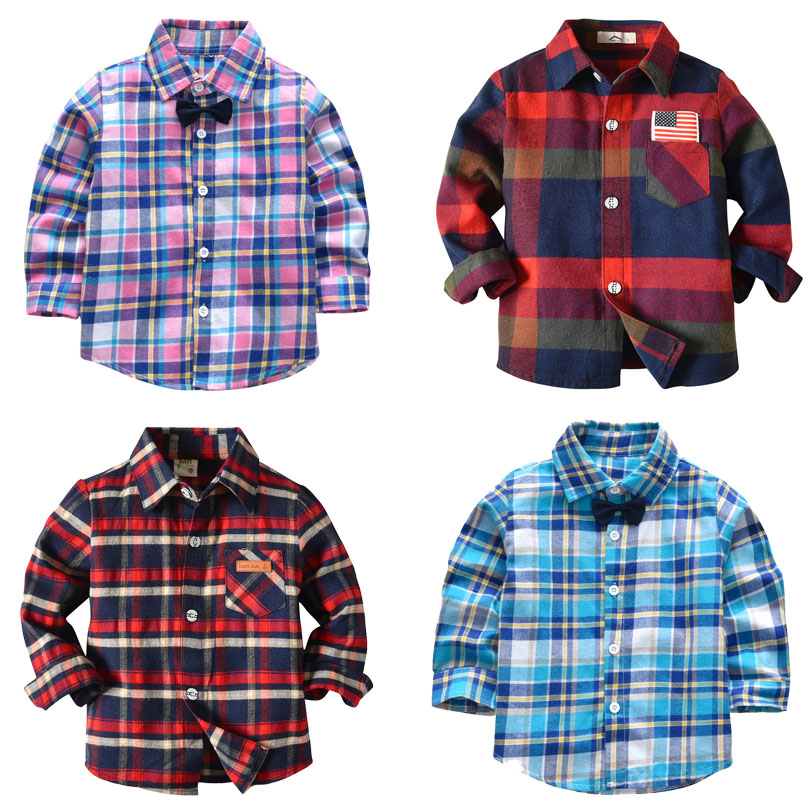 Spring Long Sleeve Boy's   Shirts   Casual Turn-down Collar Camisa Masculina   Blouses   for Children Kids Clothes Baby Boy Plaid   Shirt