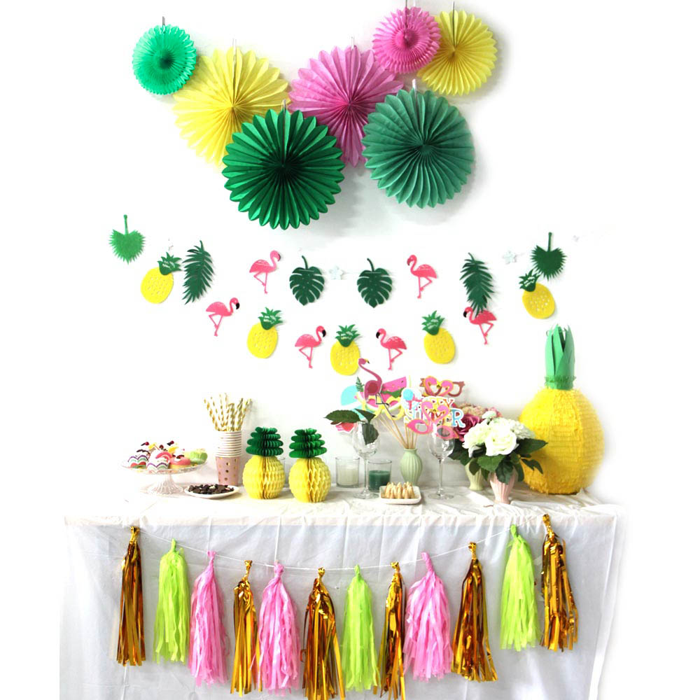 31pcs Summer Party Decoration Kit Banners Paper Pinweels Hawaiian Tropical Flamingo and Pineapple Luau Birthday Outdoor Wedding