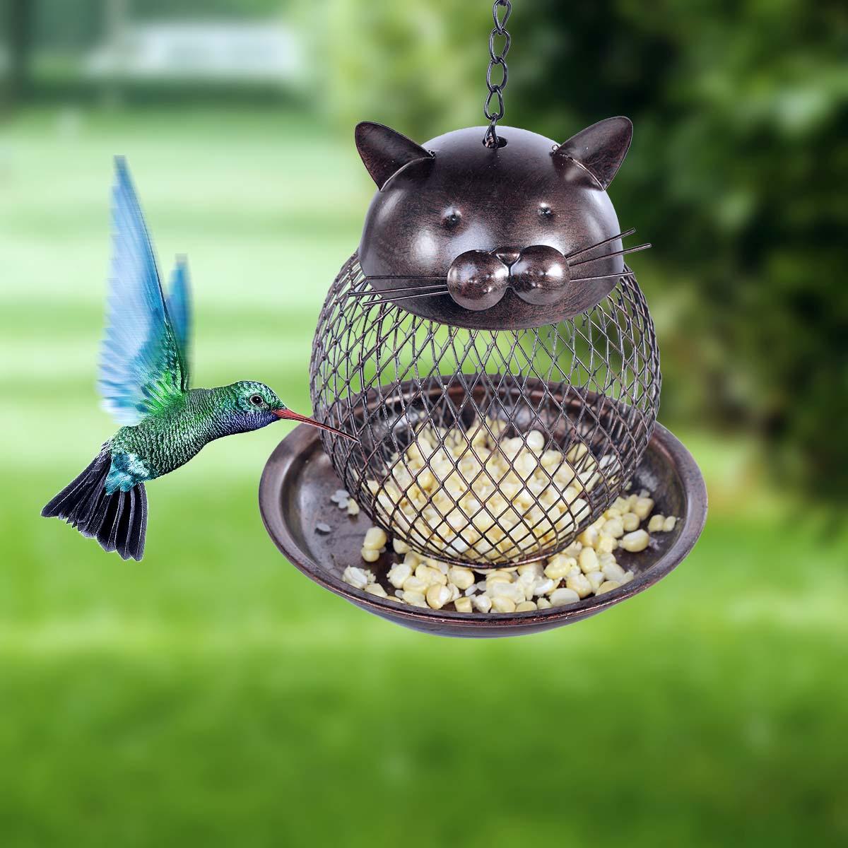 Amazing Tooarts Cat Shaped Bird Feeder Cat Shaped Vintage Handmade Outdoor Decor  Villa Garden Decoration Hanging Bird