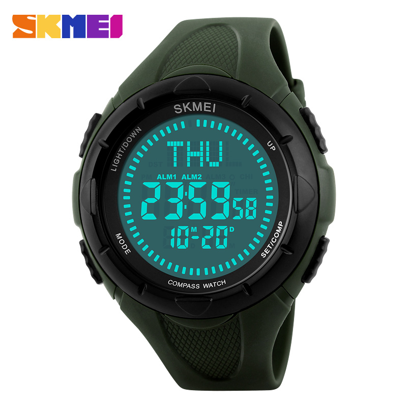 SKMEI Men Sports Watches World Time Compass Countdown Wristwatches 50M Waterproof 3 Alarm Digital Watch Relogio Masculino 1232