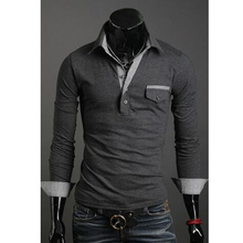 2017 Korean Style Pocket Clam shell Design Men's Solid Simple Casual Slim Long Sleeves Polo Shirt Top Tees M-XXL C350