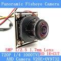 1MP 720 P 360 Graus Wide Angle Fisheye Câmera Panorâmica Câmera de CCTV AHD Câmera de Vigilância de Infravermelho de Segurança ODS/BNC cabo