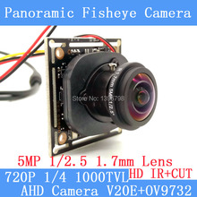 1MP 720P 360 Degree Wide Angle Fisheye Panoramic Camera CCTV Camera AHD Infrared Surveillance Camera Security ODS/ BNC Cable