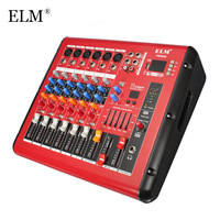 ELM Professional 6 Channel Microphone Sound Mixer Console bluetooth Karaoke Audio Mixing Amplifier With USB 48V Phantom Power