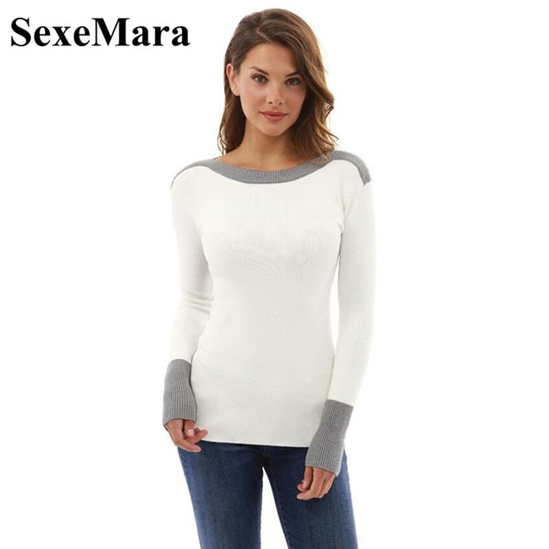 SexeMara Patchwork Knitted Sweater Women Pullover 2017 Autumn Winter Tops Casual Slim Long Sleeve Shirt Knit