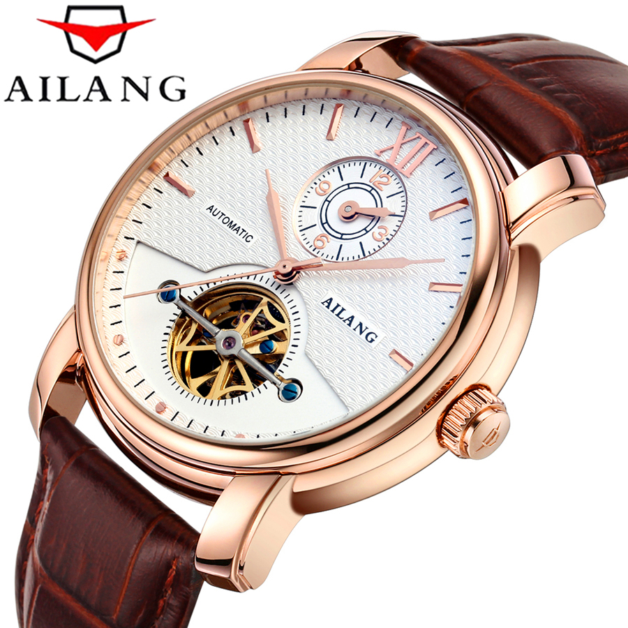 Top Luxury Brand AILANG Two time Men Sports Watches ' Tourbillon mechanical Clock Man Leather Automatic  Waterproof 50M
