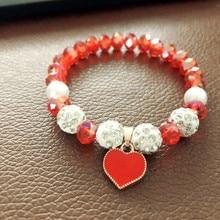 Хит, красивый Кристальный браслет и браслет, эластичные браслеты в форме сердца для женщин, ручная работа, цветные Кристальные жемчужные бусины, ювелирные изделия