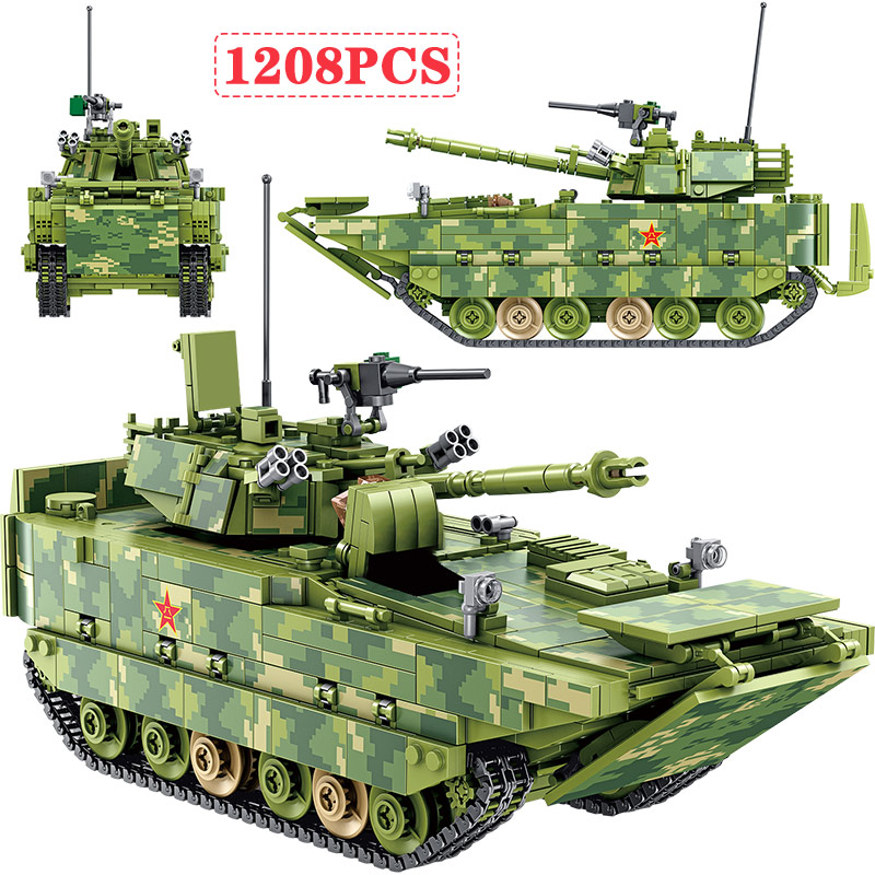 1208pcs WW2 Military Building Blocks Compatible City Police Amphibious Infantry Fighting Vehicle Tank Bricks Toys for