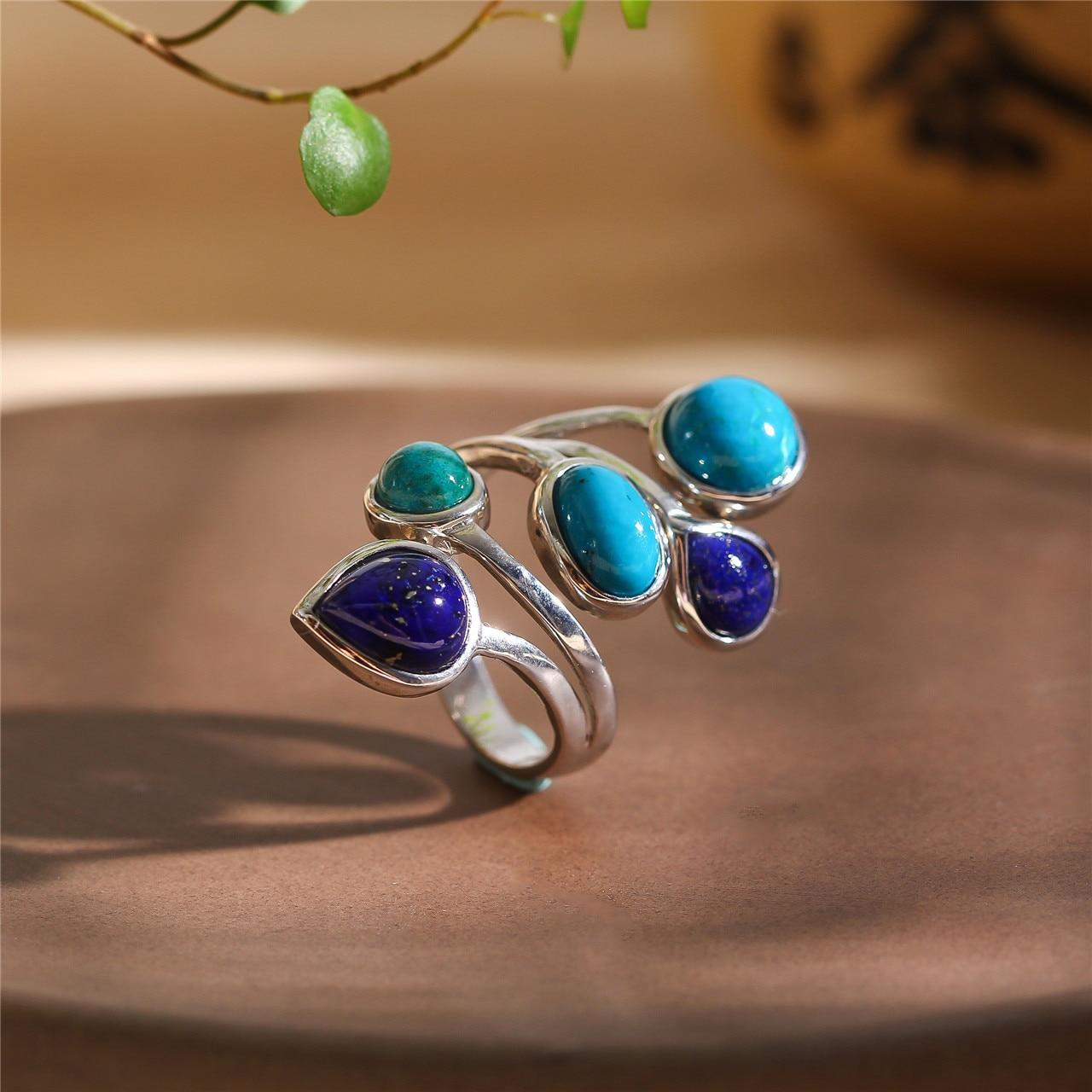 S925 pur argent bijoux mode et élégante femme phoenix pierre collocation lapis anneau - 3