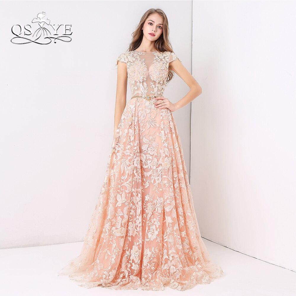 QSYYE 2018 New Arrival Vintage Formal Evening Dresses Detachable Skirt 3D  Floral Lace Saudi Arabia Long 2fe277579d7c