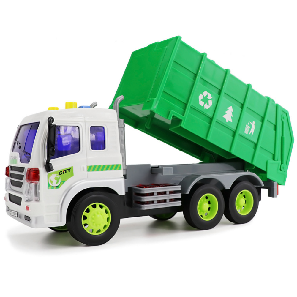 Kids Truck Car Model Toy Simulation Engineering Vehicles Garbage Trucks Dumpers With Inertia Sound And Light For Children In Diecasts