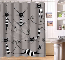 W622#286 Custom Abstract animal cat cat sketch line expression Modern Shower Curtain bathroom Waterproof Free Shipping #fj286(China)