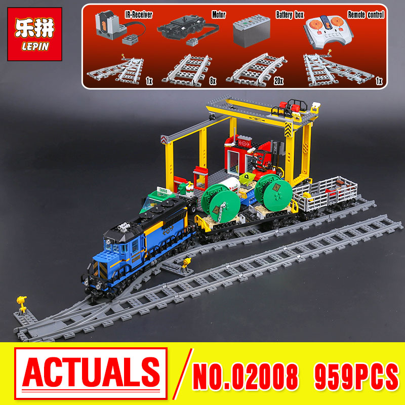 Lepin 02008 The Cargo Train Set Genuine 959Pcs City Series Building Blocks Bricks Educational Christmas Gift 60052 the new jjrc1001 lepin city construction series building blocks diy christmas gift for kid legoe city winter christmas hut toy
