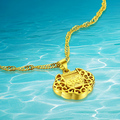 New Real 24k Gold Plated Necklace And Delicate  Locks  Pendant Necklace Chain  For Women Jewelry Got Sales