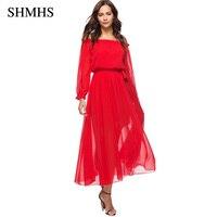 SHMHS 2018 Moda Sexy Off The Shoulder Barra Neck Vestido Vermelho Longo Mulheres Elegantes Vestidos de Festa Ocasional C0801X