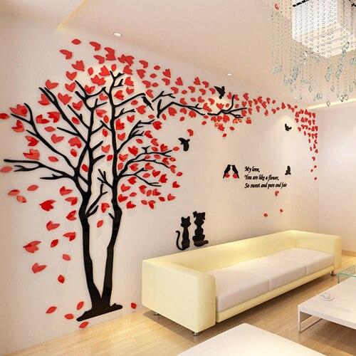 Couple Tree 3D Acrylic Wall Sticker Decoration Vinilos Decorativos ...