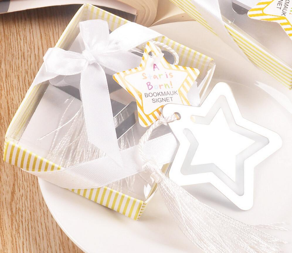 30pcs Silver Stainless Steel Star Bookmark For Wedding Baby Shower ...
