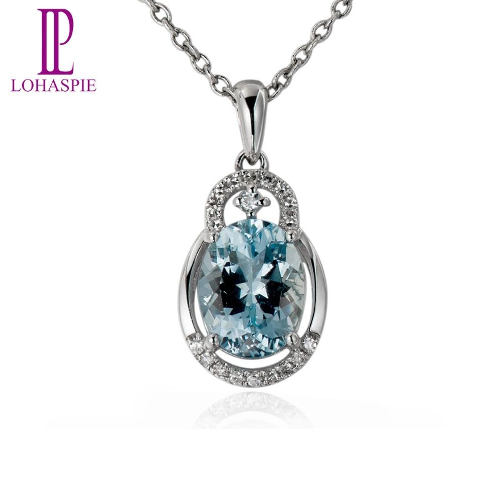 Lohaspie Diamond-Jewelry Gemstone Solid 18K 750 White Gold Genuine 1.7ct Aquamarine Pendant Fine Stone Jewelry For Gift New