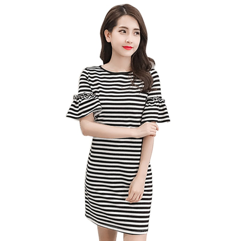 Fashion Women Summer Fashion Short Butterfly Sleeve Casual Dress O-Neck Striped Short Dress