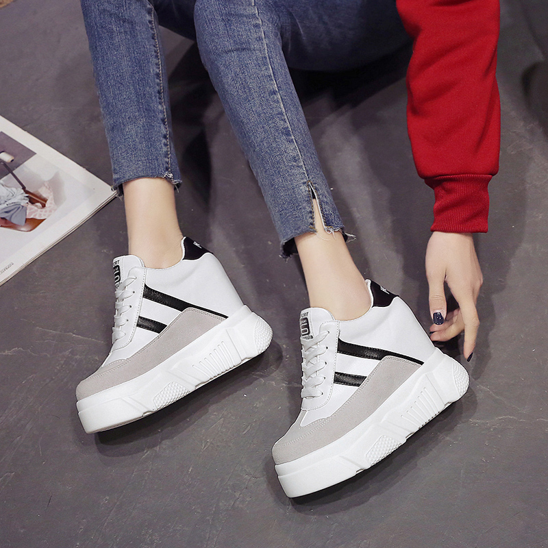 Primavera 2019 Altura Zapatillas Cuñas Mayor Tacones Mujeres Zapatos blanco Casual Vez Plataforma Mujer Negro Malla Deporte 10 De Cada Blancos Cm Las 4rqxwHO4